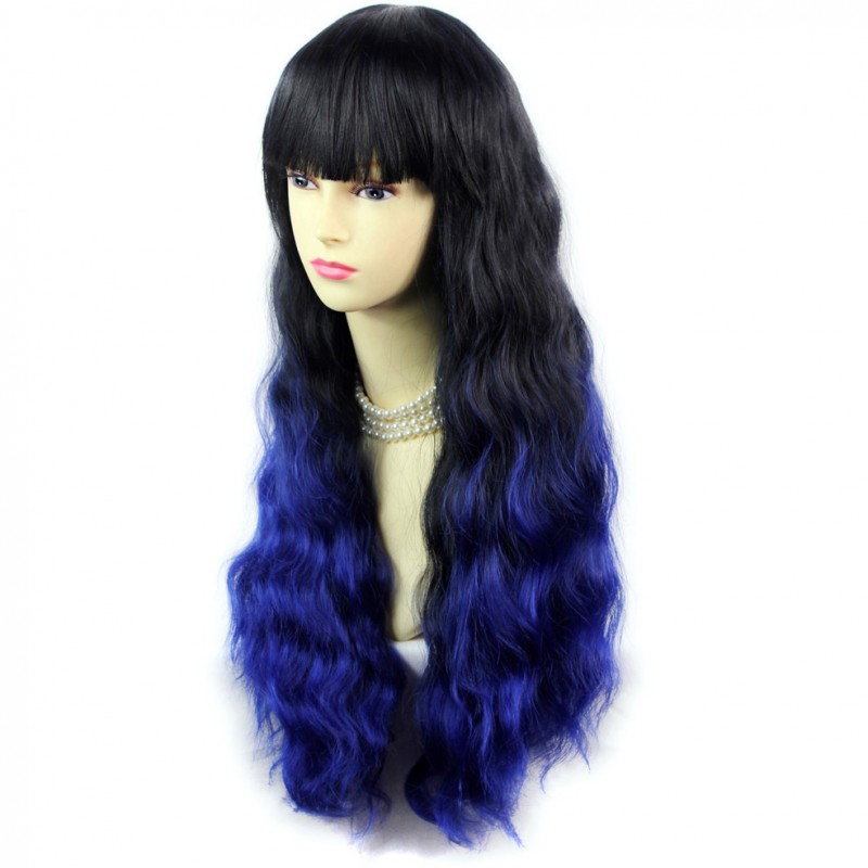 wiwigs wonderful curly black brown amp blue long lady wigs
