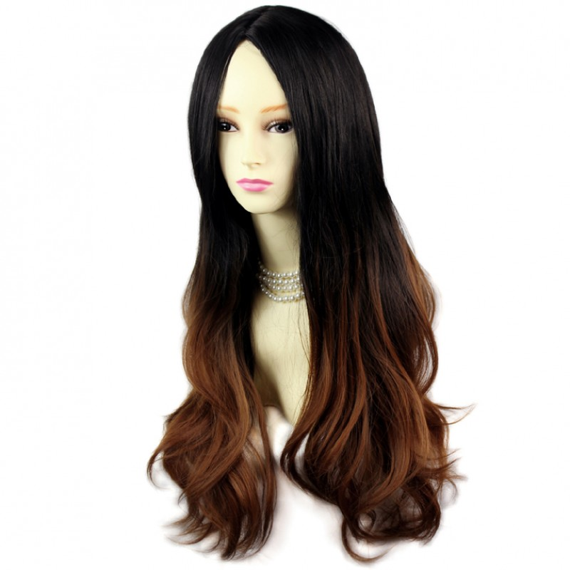 Wiwigs - AMAZING Style Black Brown & Red Long Wavy Lady ...