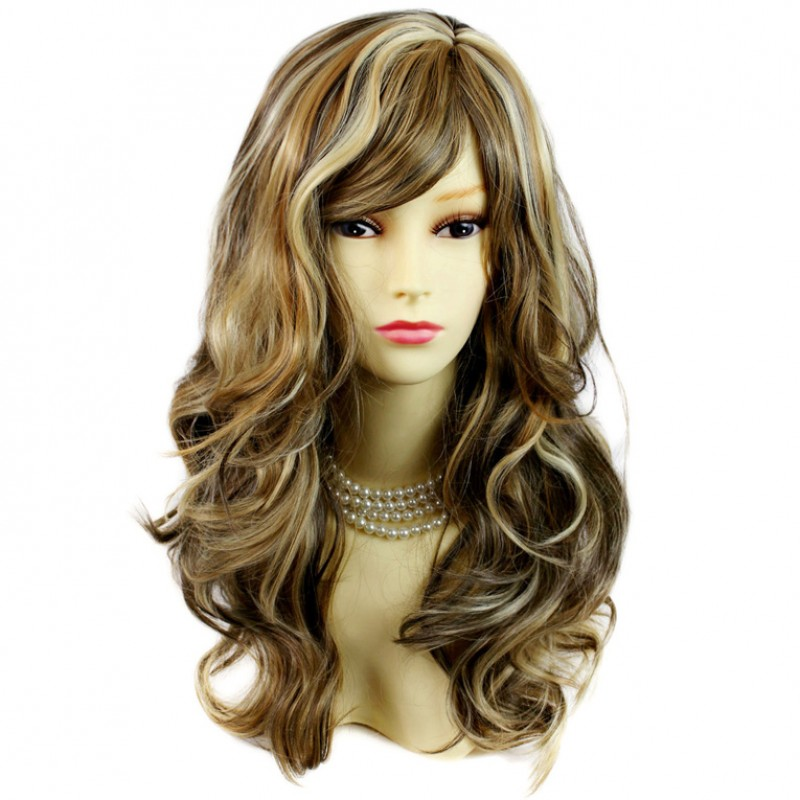 Wiwigs Wonderful Wavy Long Blonde Brown Mix Curly Heat