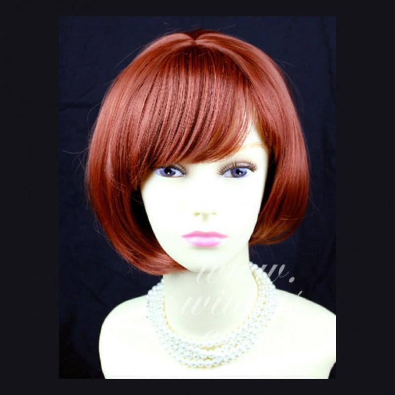 Wiwigs Posh Short Asymmetric Bob Hairstyle Dark Copper