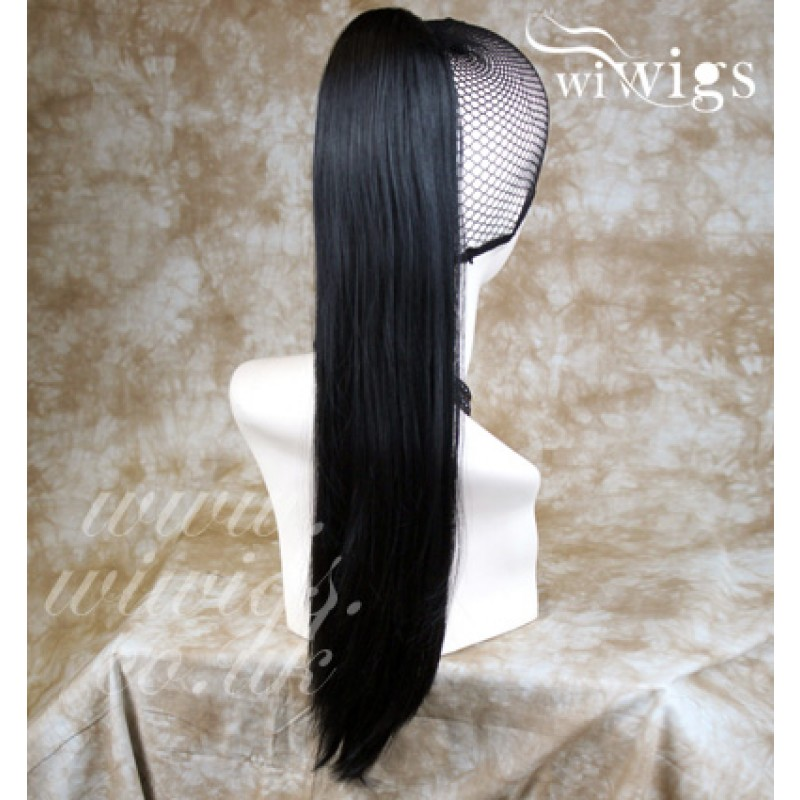 Wiwigs New Jet Black Straight Long Ponytail Hair Piece Extension Uk 1