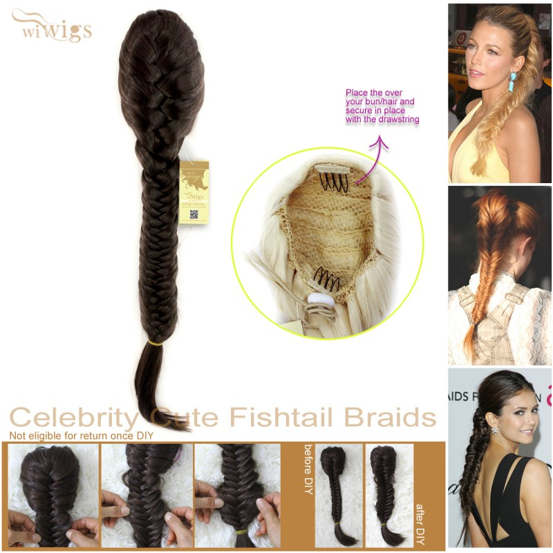 Wiwigs Celebrity Cute Light Brown Fishtail Braids Clip In Ponytail