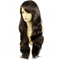 Sexy Beautiful Layered wavy Dark Coffee Brown Long Ladies Wigs Skin Top Wig UK