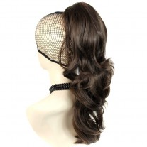 Long Wavy Dark Coffee Brown Ponytail Claw Clip in Hair Piece Extension UK