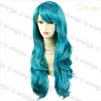 Sexy Beautiful Heat Resistant Wavy Turquoise Long Cosplay Ladies Wigs