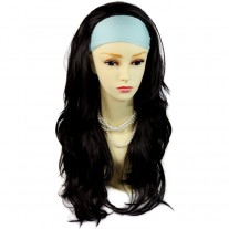 Black Brown Long Layered Wavy ends 3/4 Wig Fall Hairpiece Hair Piece UK