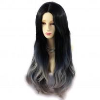 AMAZING Black Brown & Grey Long Wavy Lady Wigs Dip-Dye Ombre hair WIWIGS UK