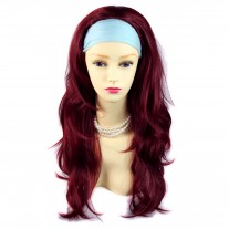 Burgundy Red Mix Long Layered Wavy ends 3/4 Wig Fall Hair extension