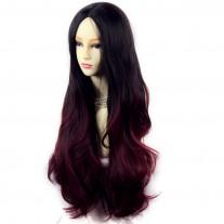 Long Wavy Lady Wigs Black Brown & Burgundy Dip-Dye Ombre hair WIWIGS