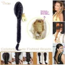 Celebrity Cute Off Black Fishtail Braids clip in Ponytail Plaited Hair Extensions DIY
