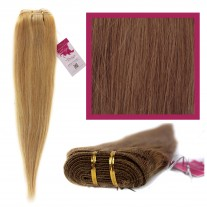 "DIY Double Weft Lush 'Light Brown' 16"" Hair Extensions Deluxe Human Hair."