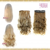 Half head 1 Piece clip In Curly Light Brown Light Blonde Highlights Hair Extensions UK