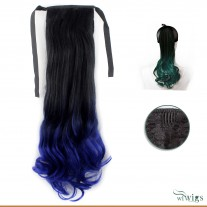 Black Brown & Blue Dip-Dye Ombre Wavy Hairpiece Ponytail Extension UK