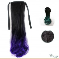 Black Brown & Purple Dip-Dye Ombre Wavy Hairpiece Ponytail Extension UK