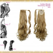 Wrap Around Clip In Pony Curly Golden Blonde Strawberry Blonde Mix Hair Extension UK