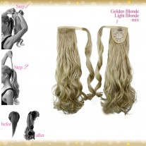 Wrap Around Clip In Pony Curly Golden Blonde Light Blonde Mix Hair Extension UK