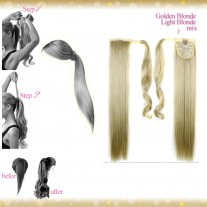 Wrap Around Clip In Pony Straight Golden Blonde Light Blonde Mix Hair Extension UK