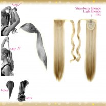 Wrap Around Clip In Pony Straight Strawberry Blonde Light Blonde Mix Hair Extension UK