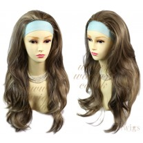 Blonde & Brown 3/4 Fall Hair Piece Long Straight Layered wavy Half Wig hairpiece