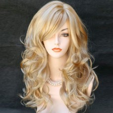 Wonderful Long wavy Blonde mix skin top Curly Wig Hair WIWIGS