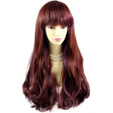 Sexy Auburn & Purple Highlight Wavy Long Lady Wigs Cosplay Party Hair WIWIGS UK