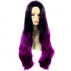 Long Wavy Lady Wigs Black Brown & Purple Red Dip-Dye Ombre hair WIWIGS