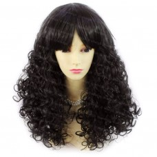 Lovely Summer Style Medium Curly Black Brown Skin Top Ladies Wigs WIWIGS UK