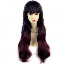 Fabulous Style Black Brown & Burgundy Long Wavy Lady Wigs Dip-Dye Ombre hair WIWIGS.
