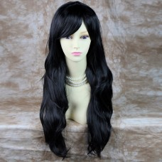 Stunning Heat Resistant Long Wavy Black Ladies Wig Skin top BANGS from WIWIGS