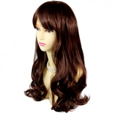 Stunning Wavy Long Brown & Red Ladies Wigs skin top Natural Hair from WIWIGS UK