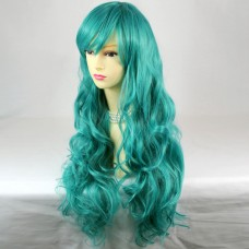Super model Sexy Turquoise Green Long Curly Ladies Wigs Cosplay Party WIWIGS UK