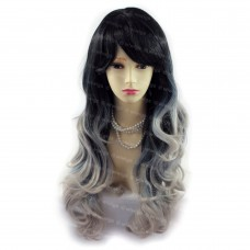Sexy Beautiful Black & Grey Long Wavy Ladies Wigs Dip-Dye Ombre hair WIWIGS UK
