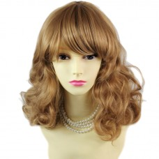 Lovely Medium Classic Curly Blonde & Brown Ladies Wigs Natural Hair WIWIGS UK