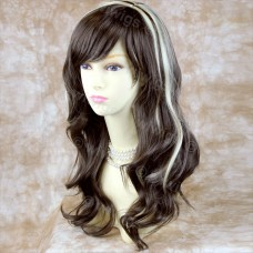 Lovely OFF CENTER Wavy Blonde mix Medium Brown Long Ladies wigs WIWIGS UK