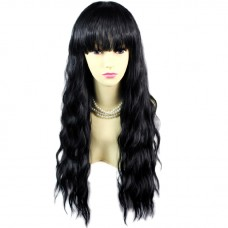 Super model Wavy Jet Black Long Ladies Wigs skin top Hair from WIWIGS UK