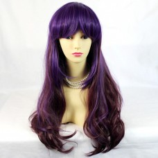 Sexy Beautiful Purple mix Long Wavy Cosplay Ladies Wigs UK