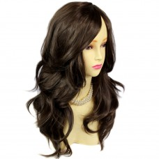 Wonderful wavy Long Dark Coffee Brown Curly Ladies Wigs skin top Hair UK