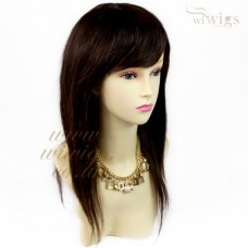 100% Real Human Hair Medium Brown mix Natural Straight Full Ladies Wigs from WIWIGS