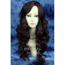 Beautiful Wavy Long Dark Brown Auburn Mix Ladies Wig
