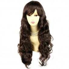 Sexy Beautiful Curly Medium chestnut brown Long Wavy Ladies Wigs skin top wig UK