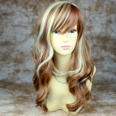 Blonde Red mix OFF CENTER Wavy LADIES wigs UK