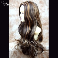 Fabulous Long Layers Wavy Wig DARK BROWN mix Ladies Wigs Skin Top WIWIGS UK 84274