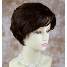 Short Wavy Human Hair Dark Brown Mix Wig
