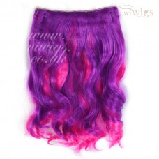 "Lovely Colour 1 piece Hair Extension 16"" Long Purple & Hot Pink UK"