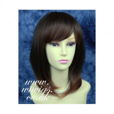 Heat Resistant Straight Brown Auburn mix Layered Ladies Wig WIWIGS UK