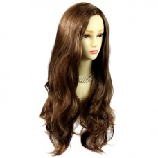 Sexy Fabulous Long Layers Wavy Cocoa Wig Light Brown Ladies Wigs Skin Top UK