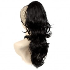 Long Wavy Black brown Ponytail Jaw Claw Clip in Hair Piece Extension UK