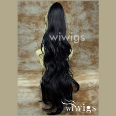 Long BLACK Pony Tail Clip In Hair Extension wigs UK