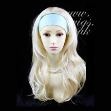 Pale Blonde Long 3/4 Wig Fall Hairpiece Wavy Layered Hair Piece #613 UK