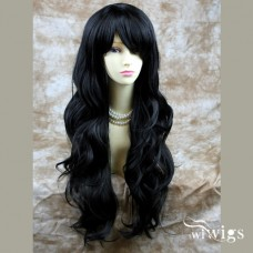 Sexy Beautiful Long Layered wavy wig Jet Black Wigs UK 0771